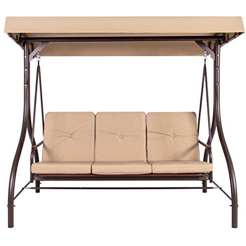 Allblessings Beige 3 Seats Converting Swing Canopy Hammock Patio Deck Outdoor Furniture