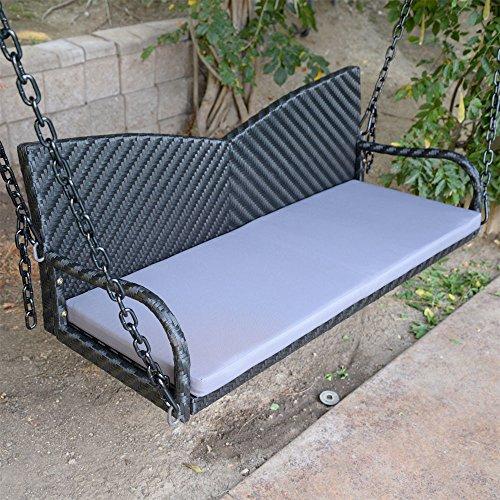 DBM IMPORTS 52 Black Wicker Porch Swing Outdoor Garden Furniture Patio Hanging Bench Hammock Backyard Chair