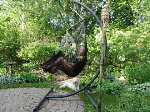 Mayan Hammock Chairamp Universal Chair Stand - Brownamp Beige