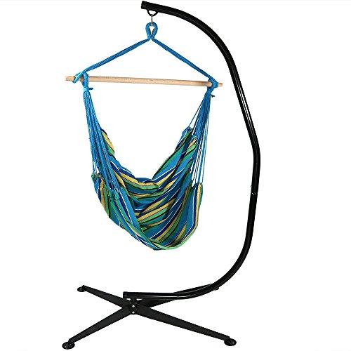 Sunnydaze Jumbo Hanging Chair Hammock Swing And C-stand Ocean Breeze 44 Inch Wide Seat