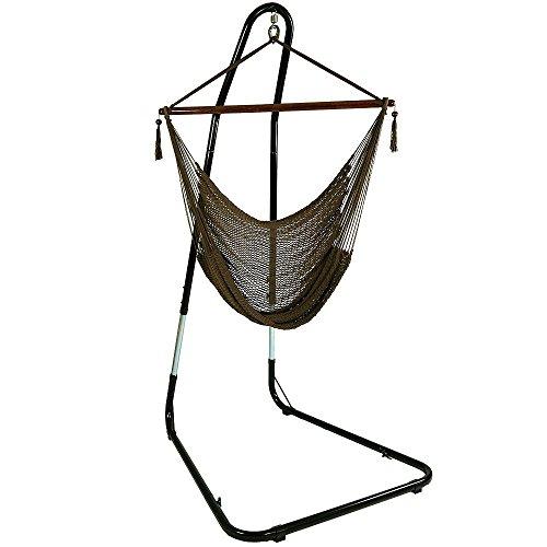 Sunnydaze Mocha Hanging Caribbean Xl Hammock Chair With Adjustable Stand