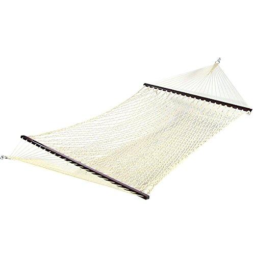 Sunnydaze Double Wide 2 Person Cotton Spreader Bar Rope Hammock 2 Person 450 Pound Capacity