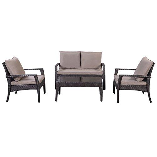 Giantex 4pc Patio Rattan Furniture Set Tea Tableampchairs Outdoor Garden Steel Frame
