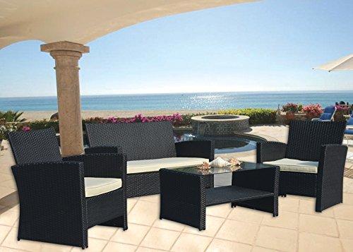 Inqbrands 4 Pieces Outdoor Patio Garden Furniture Wicker Rattan Sofa Set Sectional Beige Cushioned Black