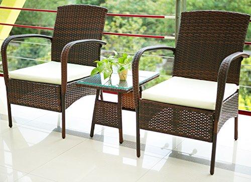 Merax 3 Piece Cushioned Patio PE Rattan Furniture Set Outdoor Garden Wicker Set with Beige Cushions Brown
