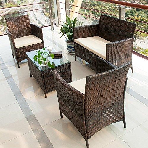Merax 4 PCS Patio Rattan Furniture Set Cushioned Outdoor Garden Wicker Rattan furniture with Beige Cushion Brown-NO2