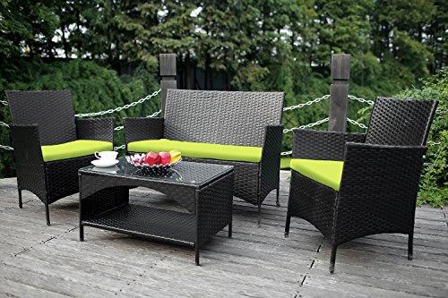 Merax Outdoor Garden Furniture Set 4 Piece Patio PE Rattan Cushioned Sofa Set LoveSeat and Chair Sofa Furniture Seat Green Cushion