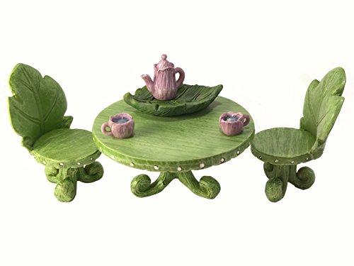 Miniature Fairy Garden Furniture set Leaf Bistro Set with Tea Set for Fairies and Garden Gnomes