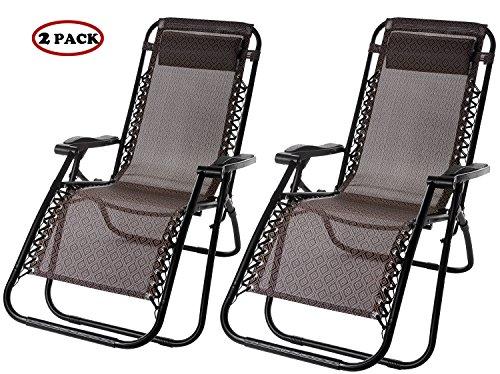 Merax Lounge Chair Zero Gravity Deck Chair Folding Reclining Patio Chair Set of 2Brown