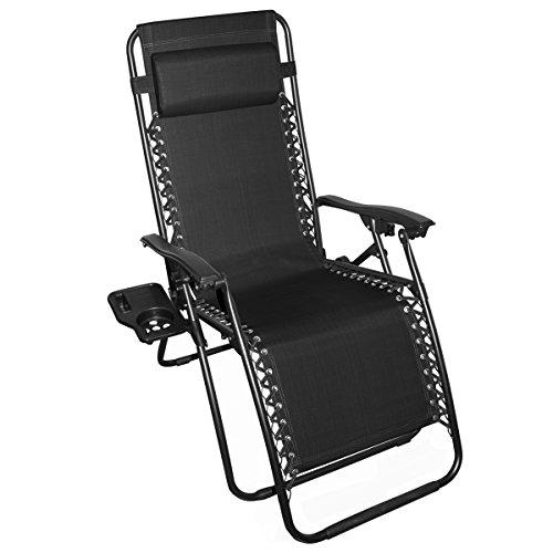 Odaof Zero Gravity Recliner Lounge Patio Pool Chair Black