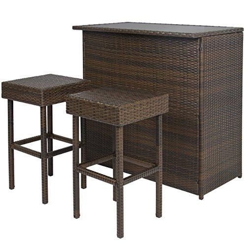 Best Choice Products 3pc Wicker Bar Set Patio Outdoor Backyard Tableamp 2 Stools Rattan Garden Furniture