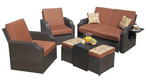 Sedona Seating Set Cushioned Wicker Sunbrella Outdoor Patio Garden 4 Piece Mission Hills Furniture