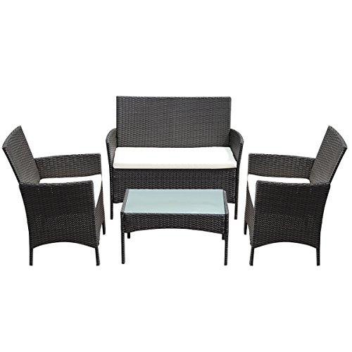 Tangkula 4 PC Patio Rattan Wicker Chair Sofa Table Set Outdoor Garden Furniture Cushioned