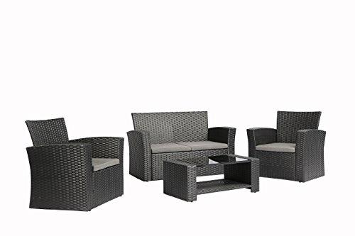 Baner Garden n87 4 Pieces Outdoor Furniture Complete Patio Cushion Wicker Rattan Garden Set Full Black