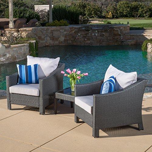Caspian 3 Piece Grey Outdoor Wicker Furniture Chat Set