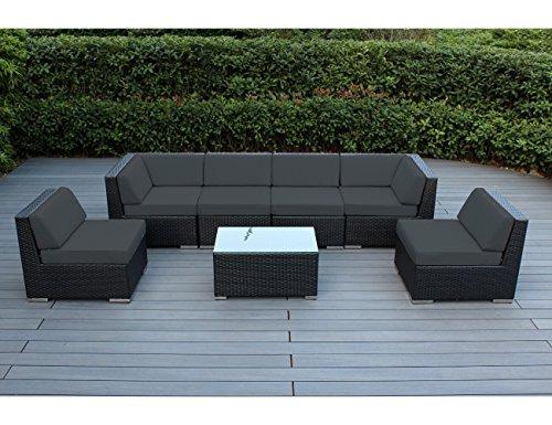 Ohana Collection 7 Piece Patio Wicker Furniture - Dark Gray