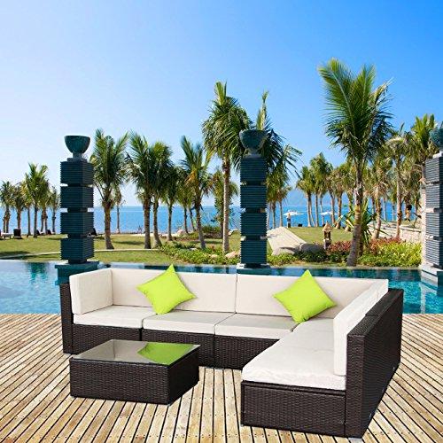 Sumder Wicker Furniture Set 5-12 Pcs Patio PE Rattan Sectional Sofa Brown 7pcs