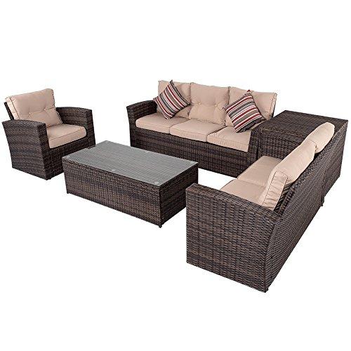 Sundale Outdoor 5 Pieces Wicker Patio Garden Furniture Conversation Set with Conner Storage