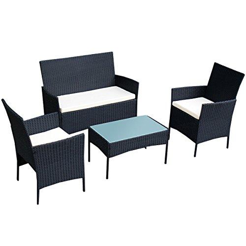 Tangkula 4 pcs Wicker Furniture Set Rattan Sofas Garden Lawn Patio Furniture