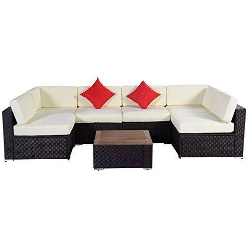Tangkula 7PC Outdoor Patio Furniture Wicker Rattan Sofa Set Poly Wood Cushion Brown