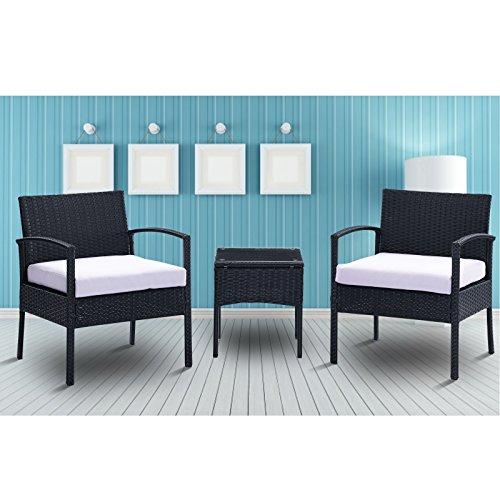 URattan 3PC Rattan Wicker Furniture Table Chair Set Cushioned Patio Outdoor Garden