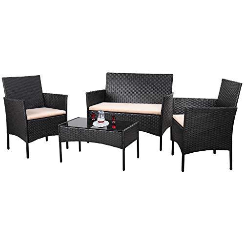 Homall 4 Pieces Outdoor Patio Furniture Sets Rattan Chair Wicker SetOutdoor Indoor Use Backyard Porch Garden Poolside Balcony Furniture