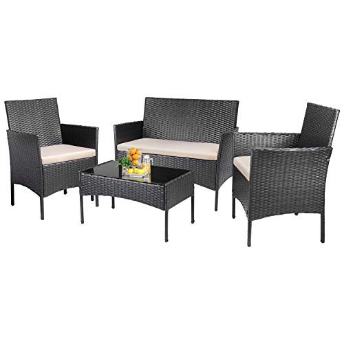 KaiMeng 4 Pieces Patio Furniture Sets Outdoor Indoor Use Conversation Sets Rattan Wicker Chair with Table Backyard Lawn Porch Garden Poolside Balcony FurnitureBlack