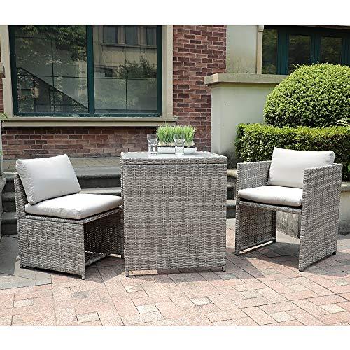 OC Orange-Casual 3 Piece Patio Wicker Outdoor Furniture Set Rattan Conversation Set Space Saving for Garden Lawn Balcony