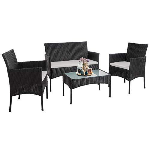 Walsunny 4 Pieces Outdoor Patio Furniture Sets Rattan Chair Wicker SetOutdoor Indoor Use Backyard Porch Garden Poolside Balcony Furniture(Black)