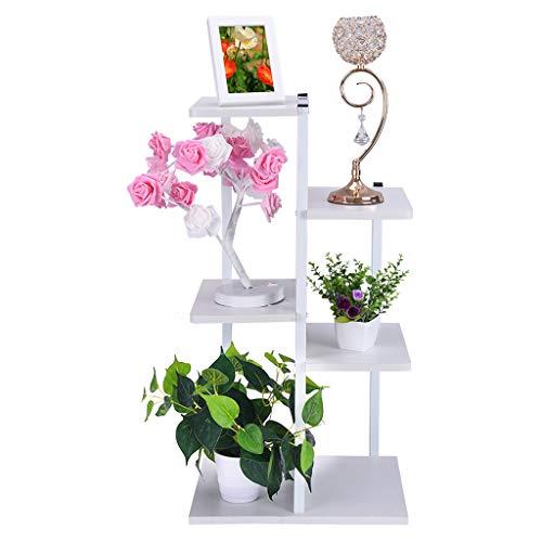 shamoluotuo Plant Stand Shelf Iron Art Corner Square Floor Rack Living Room Balcony Furniture Steel Wood Flower Stand Storage Box Partition Landing White 165×78×315in