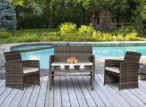 Cloud Mountain 4-Piece Outdoor Garden Backyard Patio Lawn Furniture Set with White Cushioned Seat Rattan Wicker Sofa Mix Gray