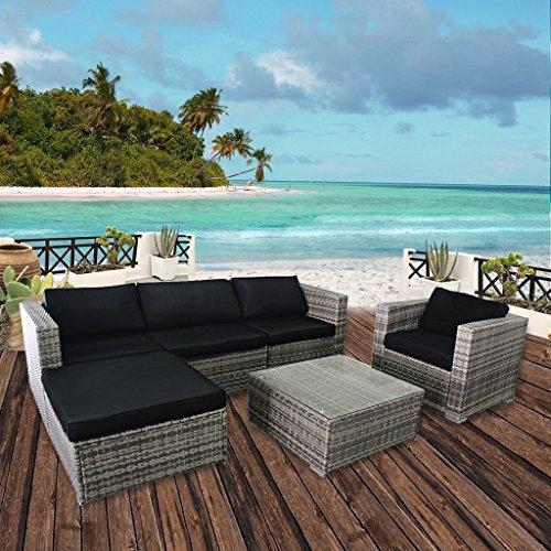 Cloud Mountain 6 Piece PE Outdoor Patio Garden Backyard Lawn Furniture Set Wicker Rattan Sectional Sofa Couch Set with Cushions Gradient Grey