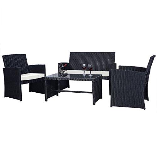 Goplus&reg 4 Pc Rattan Patio Furniture Set Black Wicker Garden Lawn Sofa Cushioned Seat