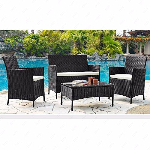 URattan 4PC Outdoor Rattan Wicker Patio Furniture Set Cushioned Sofa Table Garden Lawn Black