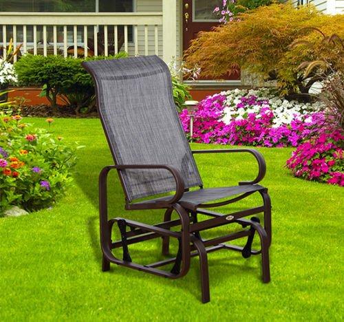 Patio Glider Lounge Bench Metal Swing Chair Rocker Mesh Porch Furniture