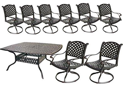 Cast Aluminum Patio Furniture Sets Nassau 9pc Outdoor Dining 1 64 Square Table 8 Swivel Rockers