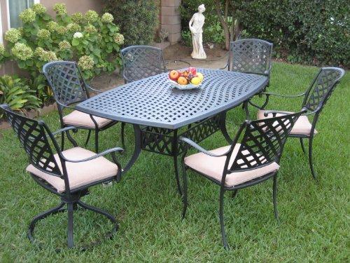 Outdoor Cast Aluminum Patio Furniture 7 Piece Dining Set KL4272 with 2 Swivel Rockers CBM1290