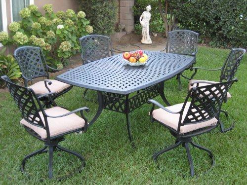 Outdoor Cast Aluminum Patio Furniture 7 Piece Dining Set KL4272 with 6 Swivel Rockers