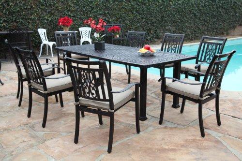Outdoor Cast Aluminum Patio Furniture 9 Piece Heaven Collection Dining Set CBM1290