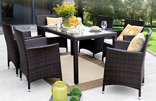 Baner Garden 7 Pieces Outdoor Furniture Complete Patio Cushion PE Wicker Rattan Garden Dining Set Full Brown
