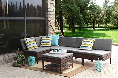 Baner Garden K55 6 Pieces Outdoor Furniture Complete Patio Wicker Rattan Garden Corner Sofa Couch Set Full Black