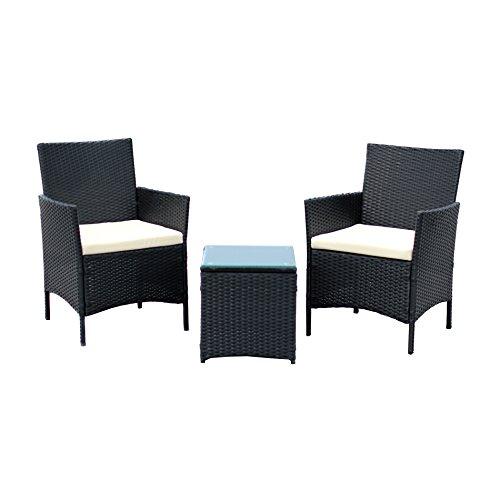 Ids Home 3-piece Compact Outdoorindoor Garden Patio Furniture Set Black Pe Rattan Wicker Seat White Cushions