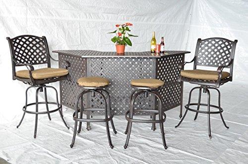 Nassau Cast Aluminum Powder Coated 5pc Outdoor Patio Set with Party Bar - Antique Bronze