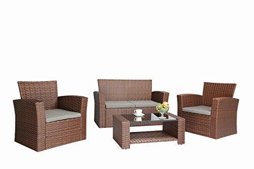 Baner Garden N87 4 Pieces Outdoor Furniture Complete Patio Cushion Wicker Rattan Garden Set Full Brown