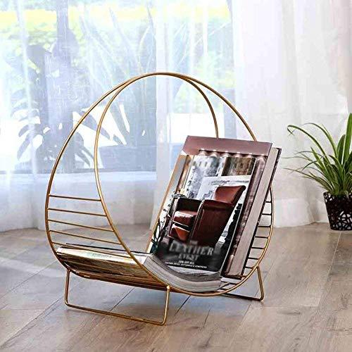 BFENGHUANG Round Iron Bookshelf Floor Decoration Simple Desktop Wrought Iron Furniture Storage RackMetallic