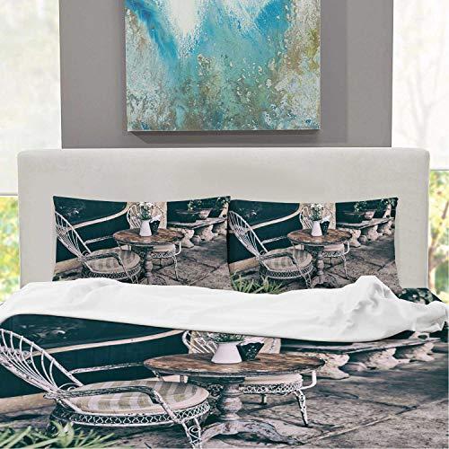 CUDEVS Old White Antique Wrought Iron FurnitureBed Set Full Size Soft Singe