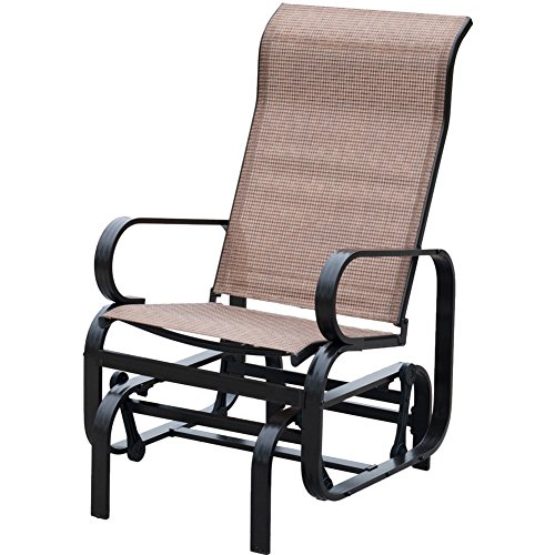 Patiopost Outdoor Teslin Mesh Fabric Patio Sling Glider Chair - Brown