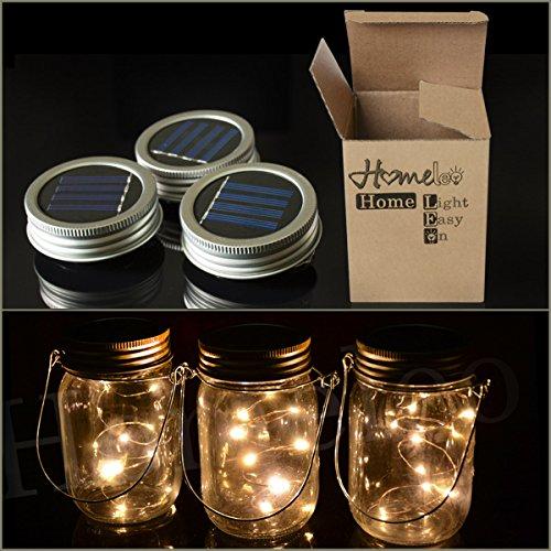 Homeleo 3 Pack Solar Mason Jar Lid Insert Warm White Led Fairy Mason Jar Lantern For Patio Garden Porch Decoration