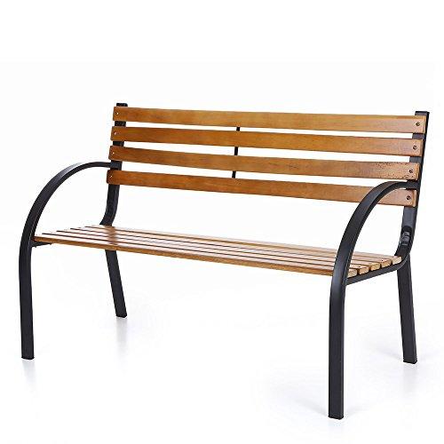 Ikayaa 48in Wood Outdoor Garden Patio Bench Furniture Porch Backyard Deck Lawn Chair
