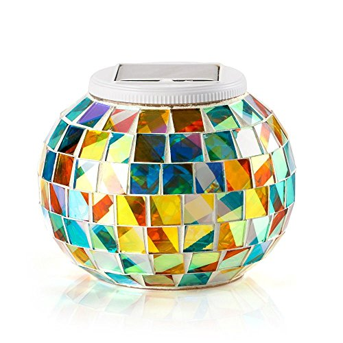 Solar Powered Mosaic Glass Ball Garden Lights Color Changing Solar Table Lamps Waterproof Solar Outdoor Lights